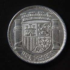 Spain - II Spanish Republic - 1 peseta silver - Year 1933 *3*4 - S/C-