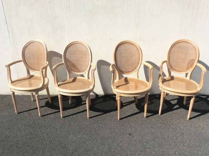 Four Beechwood Chairs In Louis XVI Style, Second Half Of The 20th Century