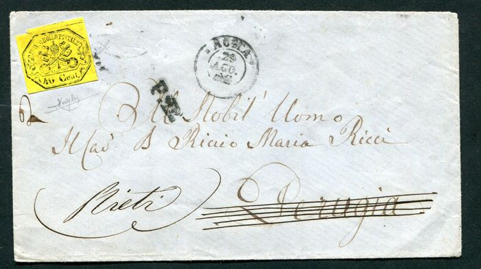 Papal State, 1868 - Yellow 40 Cent stamp without point after the numbers. On an envelope from Rome to Rieti Sassone no. 19a