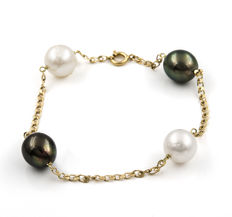 18 kt (.750) Yellow gold - Bracelet - Australian South Sea Pearls - Tahitian Pearls - Bracelet length: 20.50 cm (approx.)