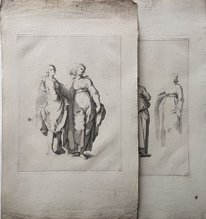 2 prints Probably by Frederik Bloemaert (1614-1690) after his father Abraham Bloemaert (1564-1651) - Studies of women in various poses - 17th/18th century