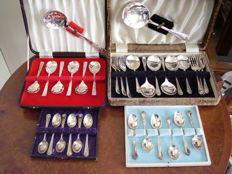 4 boxes containing English silver plated cutlery for coffee, tea, ice cream and dessert