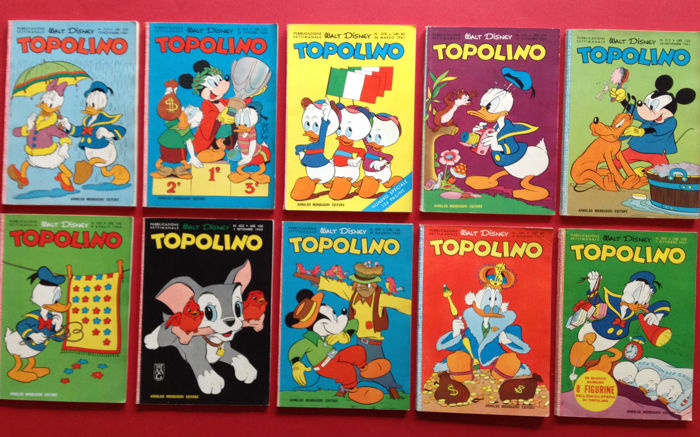 "Walt Disney: lot of 10x ""Topolino"" - first editions (1961-64)"