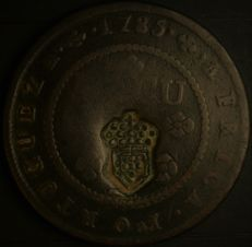 Angola – 1 Macuta 1785 D. Maria II 'Hybrid With crowned shield stamp' – copper