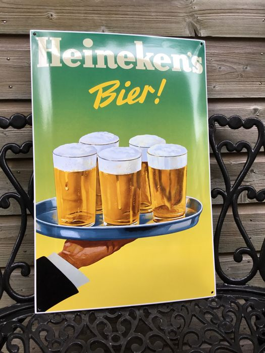 "Enamel convex sign for ""Heineken Bier"", from the 60s-70s of the last century."