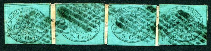 Papal State, stamps from 1867 - greenish-blue 5 Cent. Four specimens on a fragment Sassone no. 16.