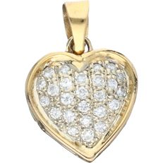 18 kt yellow gold heart-shaped pendant set with 25 round brilliant cut diamonds of approx. 0.50 ct in total - size: 1.7 x 1.5 cm