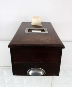 Antique wooden cash register from England, first half 20th century