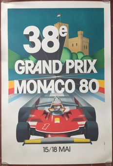 38th Grand Prix Automobile of Monaco 1980 - Poster 68 x 100 cm - printing in 1989