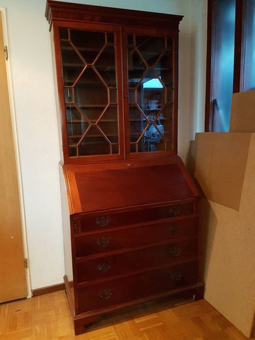 Mahogany desk-bookcase, second half 20th century