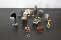 Lot 14 vintage lighters and a match holders in onyx - France - 20th century