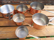 lot of 6 high tinned copper kitchen metal stoves open vesoul France