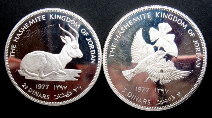 "Jordan - 2½ and 3 Dinars AH1397 (1977) ""Endangered Wildlife"" (2 different coins) - silver"