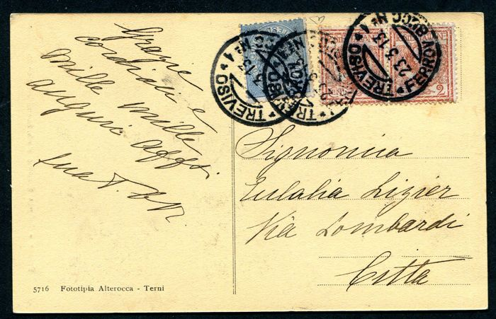 Kingdom of Italy, 1868-1901 - Vittorio Emanuele III. Postcard with 1 Cent revenue stamp - Azure Sassone no. 5