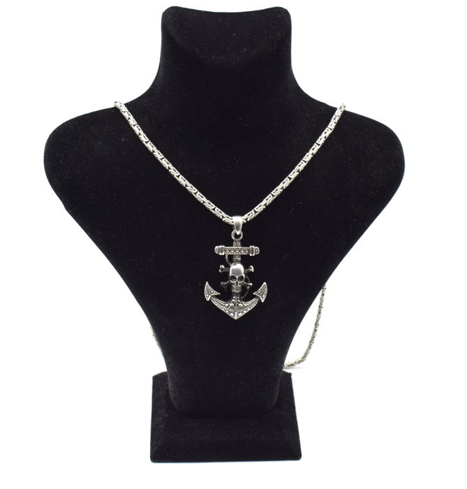 925 Italian sterling silver chain with Anchor   pendant   - 65  cm
