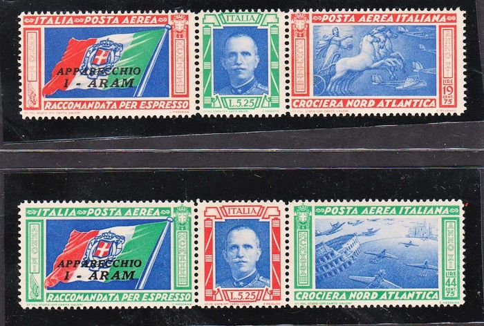 Kingdom of Italy 1933 - Air North Atlantic Crossing triptych 'I-ARAM' - Sassone no.  51/52
