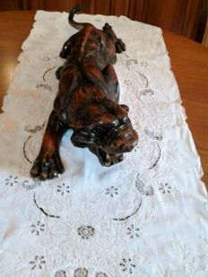 Antique sculpture of a Tiger, made of solid walnut wood - hand-carved and hand-painted - circa 1940