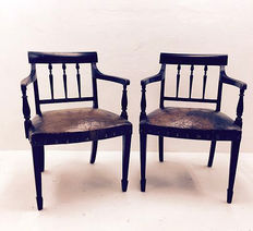 Two identical armchairs, colonial, Dutch East Indies, ca. 1940