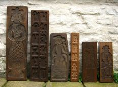 Vintage cake boards and/or gingerbread boards - hand-carved wood and earthenware, ca. 1930-1970