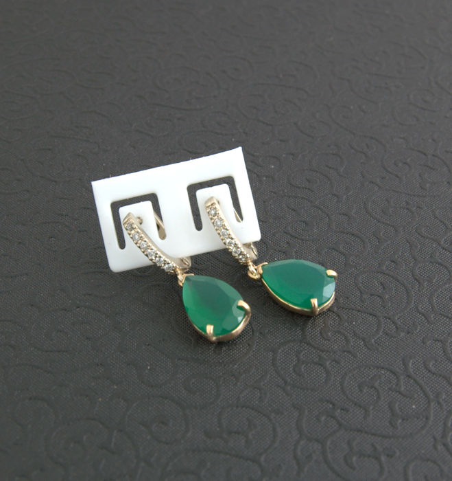 Bi-Colour  Earrings with large Onyx green,  ***no reserve price***