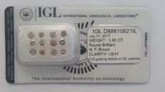 1.80ct 12 Diamonds  Round cut Fancy Brown VS-I1  IGL Lab report -NO RESERVE