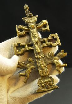 Antique bronze Cross of Caravaca from the 16th/17th century