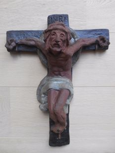 Rare terracotta crucifix - stamp and number