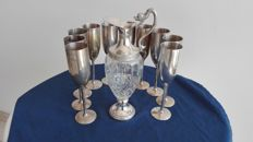 Silver plated goblets - vintage crystal and silver bottle