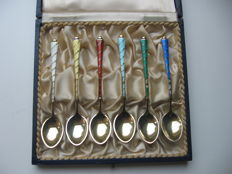 6 gilded, silver and enamelled Danish teaspoons, Egon Lauridsen, ca. 1950