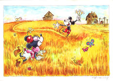 "Fernandez, Tony - Original Mixed Media Art - Mickey & Minnie Mouse inspired by Van Gogh's ""Wheat Fields with Reaper at Sunrise"" - (2017)"