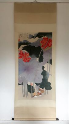 Hand painted scroll painting《张大千-荷花》 - China - late 20th century
