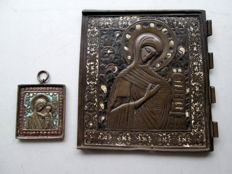Two bronze travel icons - Russia - 18th and 19th century