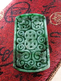 Vintage natural Burmese Jadeite, Sangyong and beads of Chinese traditional culture, for auspicious good luck, 26.83 grams.