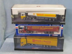 Corgi - Scale 1/50 - Lot with 3 models: ERF Curtainsider Jack Richards, Shell Petrol Tanker & Leyland DAF Curtainsider. Brady & Co
