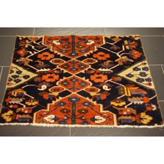 Semi antique Persian carpet OLD Bakhtiari fragment 105 x 75cm natural dyes made in Iran