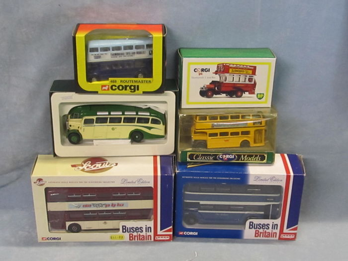 Corgi - Scale 1/50 - Lot with 6 models: AEC Routemaster, Bristol Duple Coach, Leyland Atlantean buses, AEC Regent, & Thornycroft J Type