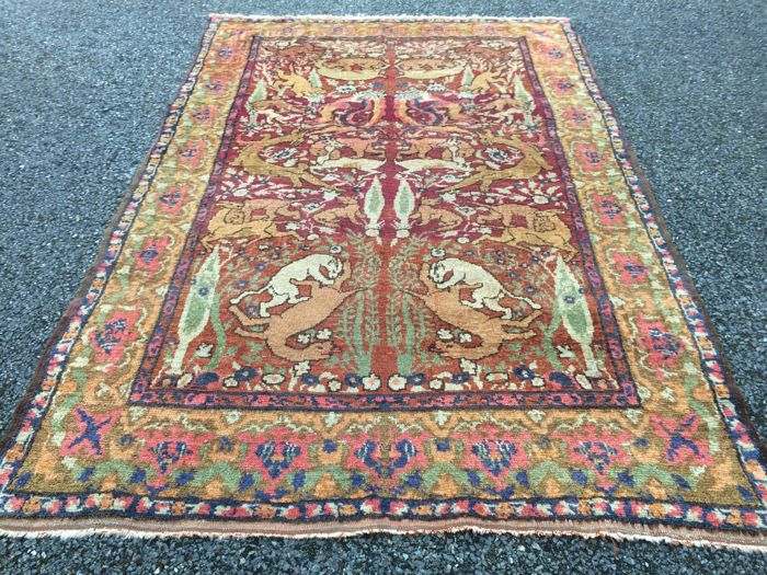 Antique Persian Afshar Figural Rug circa 1890