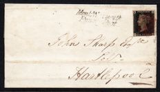 Great Britain Queen Victoria - Stanley Gibbons 2, 1d Black Plate 8 on Cover with Monkwearmouth Penny Post Cancel