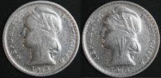 Portuguese Republic – 20 centavos 1913 and 1916 (complete set) – silver
