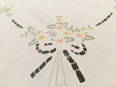 Handmade round tablecloth. Flower designs in satin stitch and chain stitch. Like new.