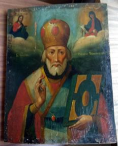 Russian icon (late 19th) - The St. Nicholas (30,8 x 24 cm)