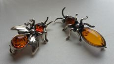 "Sterling silver 925 set of brooche ""Queen of the ants"" and ""the Bee"" with natural Baltic Amber"