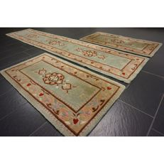 Beautiful hand-knotted China Art Deco carpet, made in China set 2 x 140 x 75cm, 340 x 70cm carpet Tappeto Tapis Tapijt