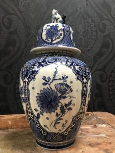 Large Lid Vase Boch Decor Delft