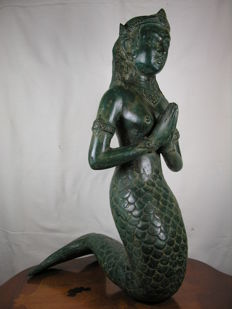 Bronze Figurine - Praying Mermaid / Nymph / Temple Servant - 52 cm high - 20th century