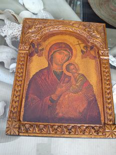 """Virgin of Passion"" old Greek wooden icon"