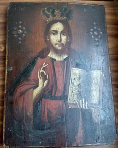 Russian icon (late 19th) - The Christ Pantocrator (35,7 x 26,5 cm)