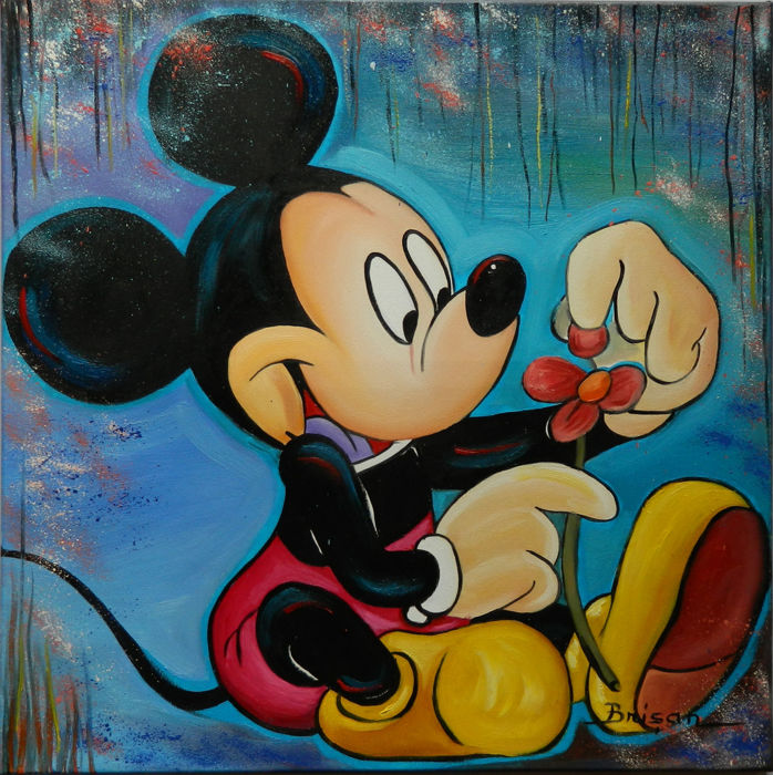 Brisan, Gabriel - Original oil painting on Canvas - Mickey in love - (2017)