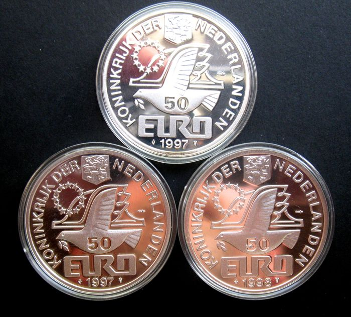 The Netherlands - 50 Euro 1997/1998 (3 different kinds) - silver