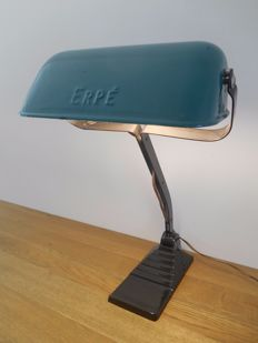 Erpé - Art Deco notary lamp with enamel shade
